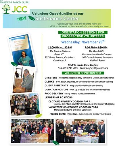 SUSTENANCE CENTER Volunteer Opportunities